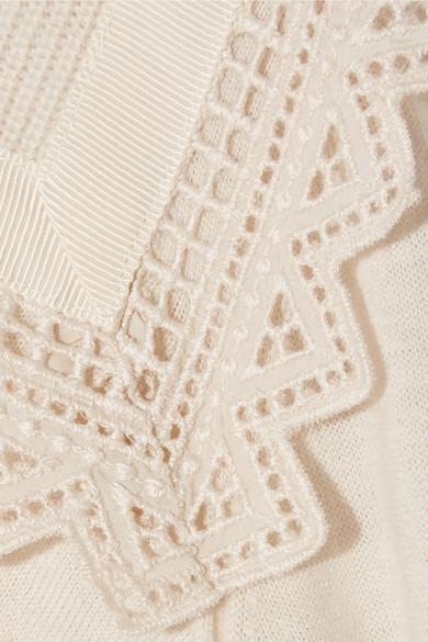Moncler Rollkragenpullover aus Wolle und Shell mit Spitzenbesatz