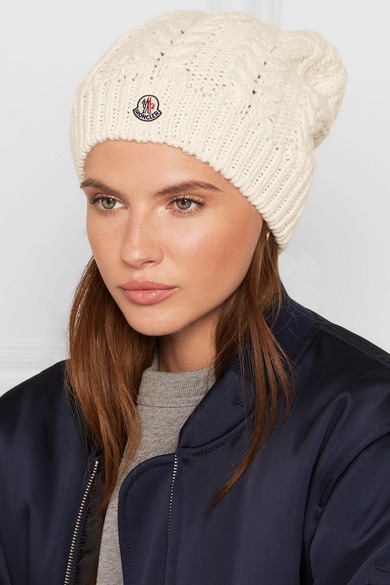 d8aee9b81 Moncler | Pompom-trimmed cable-knit beanie | NET-A-PORTER.COM