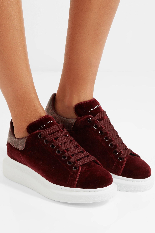 alexander mcqueen red velvet shoes off