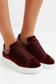 Alexander McQueen Snake-trimmed velvet exaggerated-sole sneakers