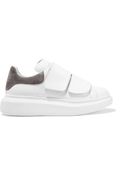 f342328f3311 Alexander McQueen. Suede-trimmed leather exaggerated-sole sneakers
