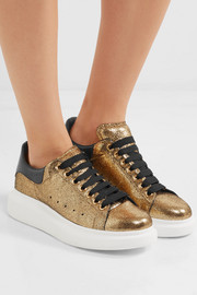 Alexander McQueen Metallic textured-leather sneakers