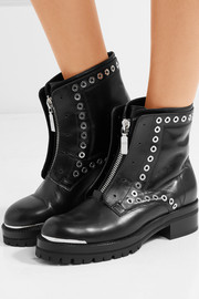 Alexander McQueen Eyelet-embellished leather ankle boots