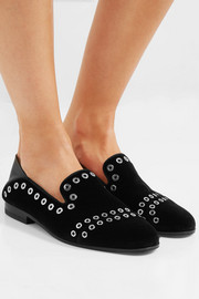 Alexander McQueen Leather-trimmed eyelet-embellished velvet loafers