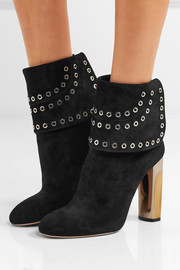 Alexander McQueen Eyelet-embellished suede ankle boots