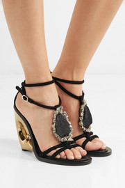 Alexander McQueen Embellished suede wedge sandals