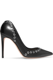 Eyelet-embellished leather pumps