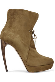 Suede platform ankle boots