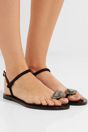 Alexander McQueen Embellished suede and leather sandals