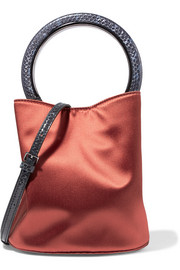 Pannier elaphe-trimmed satin shoulder bag