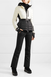 Bruche belted two-tone quilted shell ski jacket