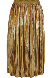 Sadiola pleated silk and Lurex-blend midi skirt