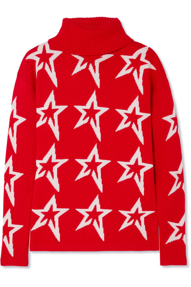 Perfect Moment - Stardust Intarsia Merino Wool Turtleneck Sweater - Red