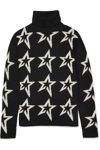 Perfect Moment - Stardust Intarsia Merino Wool Turtleneck Sweater - Black