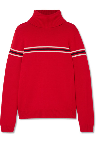 Perfect Moment - Orelle Striped Merino Wool Turtleneck Sweater - Red