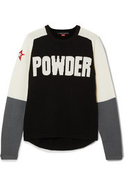 Perfect Moment Powder embroidered intarsia merino wool sweater