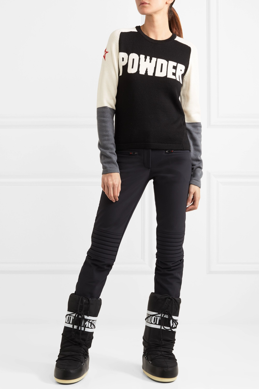 Perfect Moment Powder embroidered intarsia merino wool sweater