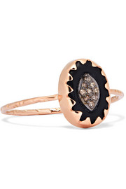 Montauk 9-karat rose gold, diamond and bakelite ring