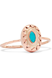Montauk 9-karat rose and yellow gold turquoise ring