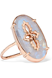 Sunday 9-karat rose gold and moonstone ring