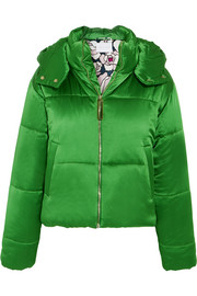 Stella hooded quilted silk-satin jacket