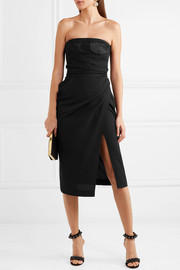 Carmen March Strapless mesh and satin-paneled crepe dress