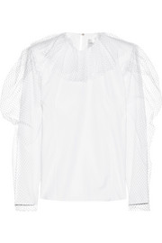 Carmen March Mesh-trimmed cotton-poplin top
