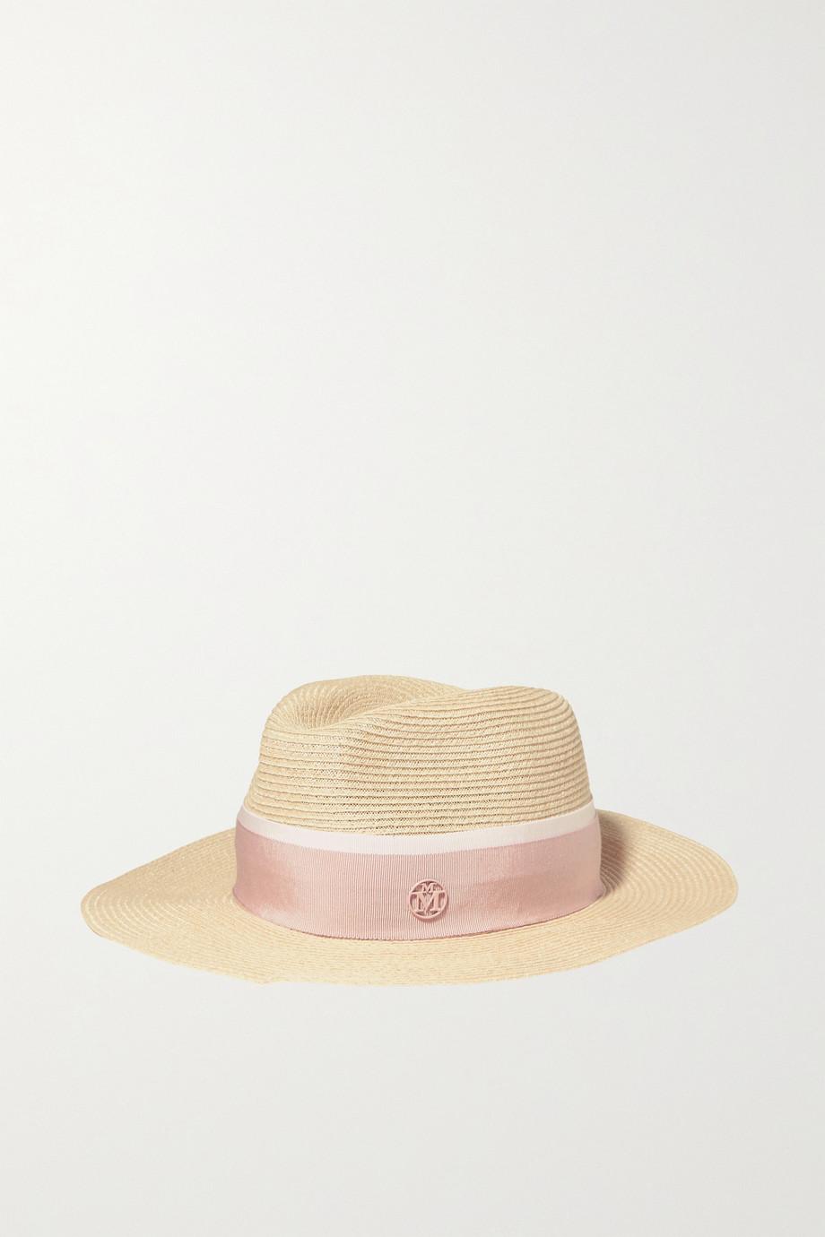 Maison Michel Henrietta grosgrain-trimmed straw hat