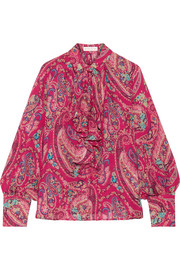 Etro Ruffled printed silk crepe de chine blouse