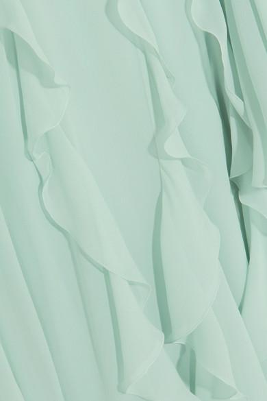 Giambattista Valli Robe aus Seiden-Georgette mit Cape-Detail und Rüschen