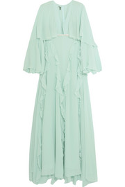 Giambattista Valli Cape-back ruffled silk-georgette gown
