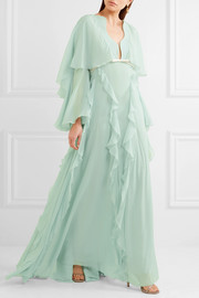 Cape-back ruffled silk-georgette gown