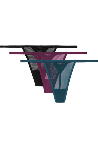Cosabella - Soire Set Of Three Mesh Thongs - Petrol