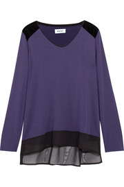 Velvet and chiffon-trimmed stretch-modal jersey pajama top