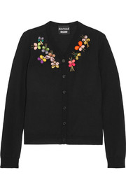 Boutique Moschino Crystal-embellished wool cardigan