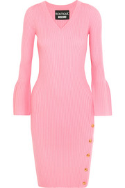Boutique Moschino Button-detailed ribbed wool dress