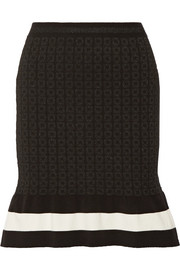 Striped metallic jacquard-knit mini skirt