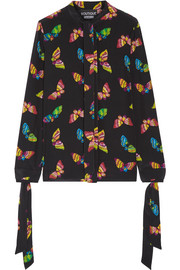Boutique Moschino Pussy-bow printed silk crepe de chine blouse
