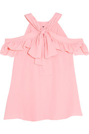 Cold-shoulder ruffled crepe top