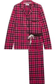 DKNY Fierce Chills plaid fleece pajama set