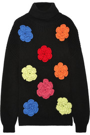 Boutique Moschino Oversized floral-appliquéd wool sweater