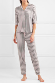 Modern Attitude striped stretch-modal jersey pajama set