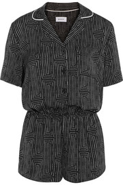 DKNY Printed washed-satin playsuit
