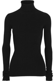 Open-back ribbed-knit turtleneck sweater