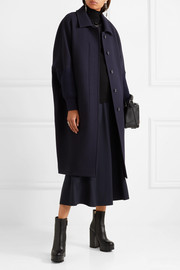 Jil Sander Oversized knit-trimmed wool-blend coat
