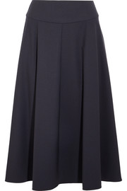 Flared wool-blend midi skirt