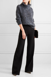 Sequined chunky-knit turtleneck sweater