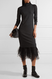 Tulle-trimmed wool midi dress