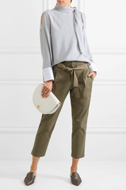 Cropped cotton-blend tapered pants