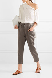 Cropped satin track pants